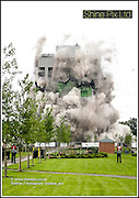 A controlled explosion of a 16 story tower in Coventry, co-ordinated by demolition experts, Cuddy Group, and landowners, Persimmon Homes has been hailed a complete success. Pictured is the demolition of the last remains of the old Massey Ferguson tractor plant the office tower block in Coventry. The land is owned by Persimmon homes and the demolition button was pressed by Daisy Uranjek (6) along with Richard Oldroyd MD Persimmon Homes and The Lord Mayor of Coventry Cllr Tim Sawdon. For further information please contact Sue Foster at Connect PR on 07850 274 889<br /> Picture by Shaun Fellows / Shine Pix Ltd