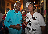 """Sharon Lavigne with Robert Taylor in the  State Capitol in Baton Rouge  on the last  day of a five day march through Louisiana's 'Cancer Alley' held by the Coalition Against Death Alley on their way to the Governor's office to deliver a letter. The Coalition Against Death Alley (CADA), is a group of Louisiana-based residents and members of various local and state organizations, is calling for a stop to the construction of new petrochemical plants and the passing of stricter regulations on existing industry in the area that include the groups RISE St. James, Justice and Beyond, the Louisiana Bucket Brigade, 350 New Orleans, and the Concerned Citizens of St. John.  Louisiana's Cancer Alley, an 80-mile stretch along the Mississippi River, is also known as the """"Petrochemical Corridor,"""" where there are over 100 petrochemical plants and refineries."""
