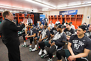 29 MAR 2015: Coach Tom Izzo of Michigan State University talks to his team in the locker room after their victory over the University of Louisville during the 2015 NCAA Men's Basketball Tournament held at the Carrier Dome in Syracuse, NY. Michigan State defeated Louisville 76-70 to advance. Brett Wilhelm/NCAA Photos