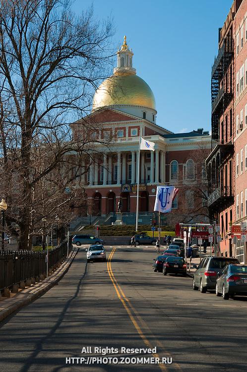 Massachusetts State House from Park St, Boston