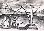 Reconstruction of a Roman machine for shooting arrows wound up ready for the missile to be released. From 'Poliorceticon sive de machinis tormentis telis' by Justus Lipsius (Joost Lips) (Antwerp, 1605). Engraving.