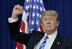 April 4, 2017 - Washington, District of Columbia, United States of America - United States President Donald Trump speaks during a CEO town hall on the American business climate in the South Court Auditorium of the White House in Washington, DC, April 4, 2017..Credit: Olivier Douliery / Pool via CNP (Credit Image: © Olivier Douliery/CNP via ZUMA Wire)