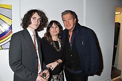 Left to right, SAM SPIKE, ALEXANDRA SHULMAN and MARIO TESTINO at a party to celebrate the publication of Can We Still Be Friends by Alexandra Shulman held at Sotheby's, 34-35 New Bond street, London on 28th March 2012.