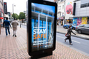 With most shops now open but with retail sales suffering due to the Coronavirus pandemic, shoppers wearing face maks, which will become compulsory in shops on the 24th July, still come to the city centre shopping district on 15th July 2020 in Birmingham, United Kingdom. Coronavirus or Covid-19 is a respiratory illness that has not previously been seen in humans. While much or Europe has been placed into lockdown, the UK government has put in place more stringent rules as part of their long term strategy, and in particular social distancing.