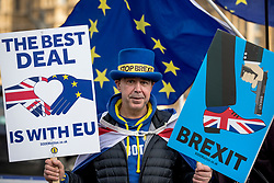 © Licensed to London News Pictures. 12/02/2019. London, UK. Anti-Brexit demonstrator Steve Bray opposite Parliament as Prime Minister Theresa May updates MPs on Brexit. Photo credit: Rob Pinney/LNP