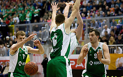 Sasu Salin of Olimpija between Zoran Dragic, Matej Rojc and Smiljan Pavic of Krka during basketball match between KK Union Olimpija Ljubljana and KK Krka Novo mesto of finals of 11th Slovenian Spar Cup 2012, on February 19, 2012 in Sports hall Brezice,  Brezice, Slovenia. (Photo By Vid Ponikvar / Sportida.com)
