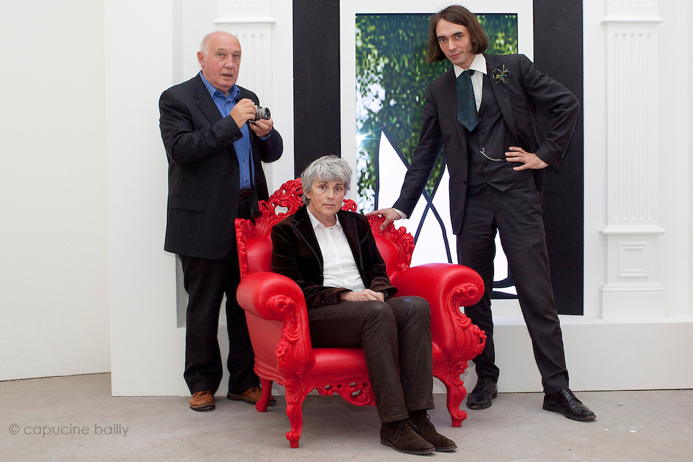Fondation Cartier. Paris, France. October 18th 2011..From left to right : Raymond Depardon, Claudine Nougaret, Cedric Villani