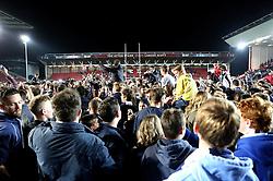 Bristol Rugby fans celebrate their team winning promotion to The Aviva Premiership - Mandatory byline: Robbie Stephenson/JMP - 25/05/2016 - RUGBY UNION - Ashton Gate Stadium - Bristol, England - Bristol Rugby v Doncaster Knights - Greene King IPA Championship Play Off FINAL 2nd Leg.