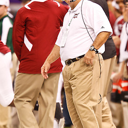 December 18, 2010; New Orleans, LA, USA; Troy Trojans head coach Larry Blakeney on the sideline during the second half of the 2010 New Orleans Bowl against the Ohio Bobcats at the Louisiana Superdome. Troy defeated Ohio 48-21. Mandatory Credit: Derick E. Hingle