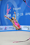 Vass Dora during qualifying at ribbon in Pesaro World Cup at Adriatic Arena on April 27, 2013. Dora was born in Budapest on September 08,1991. She is a rhythmic gymnast since 1999 and member of the Hungarian National Team since 2004.