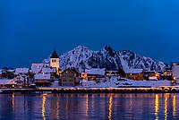 Twilight view, Svolvaer, Lofoten Islands, Arctic, Northern Norway.