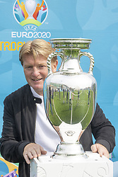 Handout photo dated 02/06/2021 provided by JSHPIX of former Scotland international Stuart McCall with the Euro 2020 trophy as the Henri Delaunay Cup made a special visit to Glasgow today as part of the UEFA EURO 2020 Trophy Tour. Issue date: Wednesday June 2, 2021.