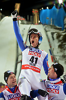 Hopp<br /> VM 2015 / FIS World Championships<br /> Falun Sverige<br /> 21.02.2015<br /> Foto: Gepa/Digitalsport<br /> NORWAY ONLY<br /> <br /> FIS Nordic World Ski Championships, normal hill, men. Image shows the rejoicing of Rune  Velta (middle), Anders  Bardal and Anders  Jacobsen (NOR).