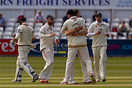 Paul Coughlin (Durham County Cricket Club)is congratulated by his team after taking the wicket of Lewis Gregory (Somerset County Cricket Club) during the LV County Championship Div 1 match between Durham County Cricket Club and Somerset County Cricket Club at the Emirates Durham ICG Ground, Chester-le-Street, United Kingdom on 9 June 2015. Photo by George Ledger.