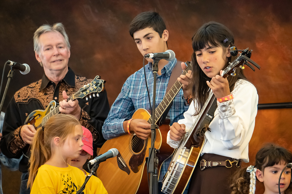 The High Mountain Hayseeds youth music group - directed by Heidi Clare - performs at the 2019 High Mountain Hay Fever Bluegrass Festival.