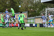 Forest Green Rovers Curtis Tilt(2) heads the ball misses the target during the Vanarama National League match between Forest Green Rovers and Chester FC at the New Lawn, Forest Green, United Kingdom on 14 April 2017. Photo by Shane Healey.