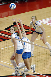 24 November 2006: Kori Lebeda sets the ball behind her for Kelly Goc during a Quarterfinal match between the Illinois State University Redbirds and the Creighton University Bluejays. The Tournament was held at Redbird Arena on the campus of Illinois State University in Normal Illinois.<br />