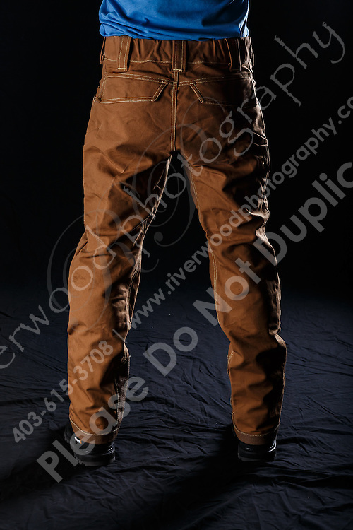 Commercial product photography for Up in Smoke Welding Apparel. The purpose of the shoot was to create marketing images for a new line of industrial strength pants.<br /> <br /> ©2016, Sean Phillips<br /> http://www.RiverwoodPhotography.com