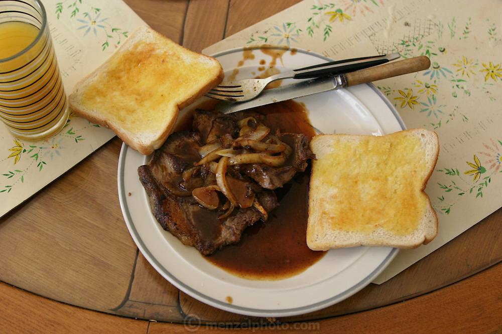Doug Brown's breakfast of pork and onions in gravy with buttered toast in Riverview, Australia, outside Brisbane. (From a photographic gallery of meals in Hungry Planet: What the World Eats, p. 244).