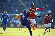 Lois Diony of Bristol city ® challenges Sol Bamba of Cardiff city. EFL Skybet championship match, Cardiff city v Bristol city at the Cardiff city stadium in Cardiff, South Wales on Sunday 25th February 2018.<br /> pic by Andrew Orchard, Andrew Orchard sports photography.