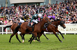 Merchant Navy (right) ridden by Jockey Ryan Lee Moore wins the Diamond Jubilee Stakes during day five of Royal Ascot at Ascot Racecourse.
