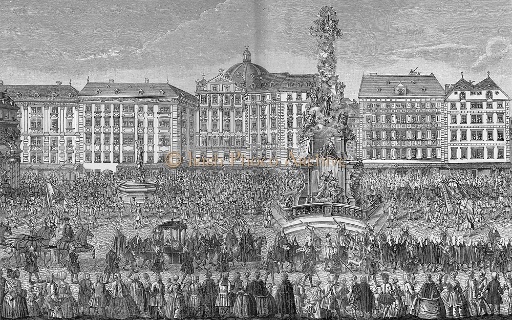 Oath of obedience is given to Maria Theresa (1717-1780), archduchess of Austria, Holy Roman Empress, and Queen of Hungary and Bohemia, began her rule in 1740. She was the only woman ruler in the 650 history of the Habsburg dynasty.   She was also one of the most successful Habsburg rulers, male or female, while bearing sixteen children between 1738 and 1756. She died in 1780