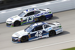 August 12, 2018 - Brooklyn, Michigan, United States of America - Kyle Larson (42) and Ty Dillon (13) battle for position during the Consumers Energy 400 at Michigan International Speedway in Brooklyn, Michigan. (Credit Image: © Chris Owens Asp Inc/ASP via ZUMA Wire)