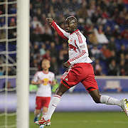 Bradley Wright-Phillips, New York Red Bulls, heads over the bar  during the New York Red Bulls V Sporting Kansas City, Major League Soccer Play Off Match at Red Bull Arena, Harrison, New Jersey. USA. 30th October 2014. Photo Tim Clayton