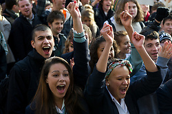 © under license to London News Pictures.  24/11/2010 Students cheer in Bristol today (Wednesday) as students march through the centre of Bristol. Demonstrations all over the UK are taking place to protest against proposed higher education fees. Credit should read: David Hedges/London News Pictures