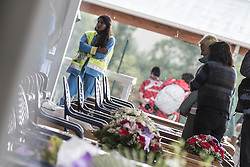 August 30, 2016 - Amatrice, Italy - Relatives attend a funeral mass for victims of earthquake on August 30, 2016 in Amatrice, Italy. Italy has declared a state of emergency in the regions worst hit by Wednesday's earthquake as hopes diminish of finding more survivors. At least 290 people are now know to have died and around 400 injured with teams continuing to search the rubble of collapsed buildings. (Credit Image: © Manuel Romano/NurPhoto via ZUMA Press)
