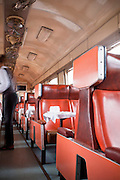 The restaurant carriage of a Kenyan Railways train, which is steeped in colonial history, in Mombasa, Kenya