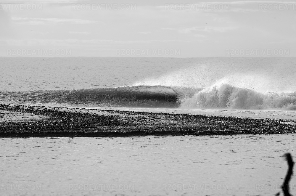Black and white image of a perfect peeling wave in early morning light.