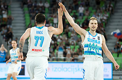 Luka Doncic of Slovenia and Jaka Blazic of Slovenia react during friendly basketball match between National teams of Slovenia and Croatia, on June 18, 2021 in Arena Stozice, Ljubljana, Slovenia. Photo by Vid Ponikvar / Sportida