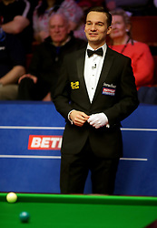 Snooker referee Marcel Eckardt during day nine of the 2018 Betfred World Championship at The Crucible, Sheffield. PRESS ASSOCIATION Photo. Picture date: Sunday April 29, 2018. See PA story SNOOKER World. Photo credit should read: Richard Sellers/PA Wire