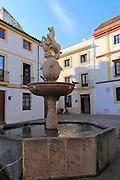 Historic buildings and fountain in Plaza del Potro square in old city part of Cordoba, Spain