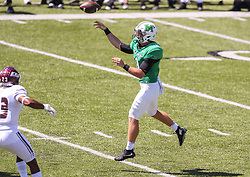 Sep 5, 2020; Huntington, West Virginia, USA; Marshall Thundering Herd quarterback Grant Wells (8) throws a jump pass for a touchdown during the second quarter against the Eastern Kentucky Colonels at Joan C. Edwards Stadium. Mandatory Credit: Ben Queen-USA TODAY Sports