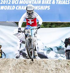 01.09.2012, Bikepark, Leogang, AUT, UCI, Mountainbike und Trial Weltmeisterschaften, MEN Elite, 4-Cross, im Bild Simon Waldburger (SUI) // during UCI Mountainbike and Trial World Championships, MEN Elite, 4-Cross at the Bikepark, Leogang, Austria on .2012/09/01. EXPA Pictures © 2012, PhotoCredit: EXPA/ Juergen Feichter