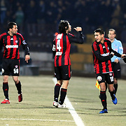 Gaziantepspor's Ismael SOSA (2ndR) celebrate his goal with team mate during their Turkish superleague soccer match Gaziantepspor between Galatasaray at the Kamil Ocak stadium in Gaziantep Turkey on Saturday 12 February 2011. Photo by TURKPIX