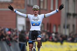 January 5, 2019 - Gullegem, BELGIUM - Dutch Mathieu Van Der Poel celebrates as he crosses the finish line to win the men elite race of the Gullegem Cyclocross, Saturday 05 January 2019 in Gullegem, Belgium...BELGA PHOTO DAVID STOCKMAN (Credit Image: © David Stockman/Belga via ZUMA Press)