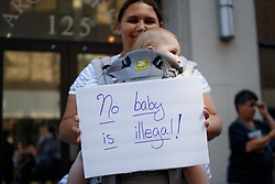 June 14, 2018 - Philadelphia, PA, United States - Protesters participate in a rally organized by Families Belong Together, speaking out against the Trump administration's policies separating immigrant families across from one of the city's Immigration and Customs Enforcement (ICE) offices. (Credit Image: © Michael Candelori/Pacific Press via ZUMA Wire)
