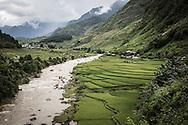 Riverscape in a quiet valley, Ngoc Chien Commune, Muong La District, Son La province, Vietnam, Southeast Asia