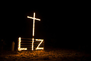 A memorial for Liz Pope created by Roger and Lisa Coots sits atop a mesa overlooking the city in Sheffield, Texas on December 13, 2016. (Cooper Neill for The New York Times)