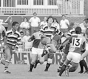Bath, West Somerset. Great Britain.  <br /> Stuart BARNES running in the catch the high ball, supported left, Jeremy GUSCOTT and right, Andy ROBINSON, during the Bath Rugby vs Harlequins, The Recreation Ground [Rec]. 10.09.1988.<br /> <br /> [Mandatory Credit, Peter Spurrier/ Intersport Images].