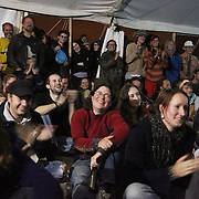 Plenary at the Main Marquee; Climate Justice:Copenhagen and beyond. Panel with Clayton Thomas Muller  from <br /> Indigenous Environmental Network in Canada, Joanna Cabello from Carbon Trade Warch, Friends of the Earth and Chris Kitchen from Climate Camp. A huge crowd filled the main marquee, listening and asking questions regarding COP15.<br /> <br /> After the plenary the two contestants for winning the price of being swooped in October were presented and the winner announced,