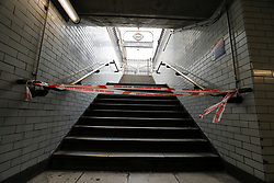 © Licensed to London News Pictures. 27/04/2017. London, UK. Westminster tube station exit blocked off to the public by police tape after a man was arrested carrying what is reported to be a bag full of knives, on Whitehall in Westminster, central London. Photo credit: Tolga Akmen/LNP