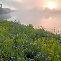 Early morning on a misty morning on the Connecticut River in Lunenburg, Vermont.