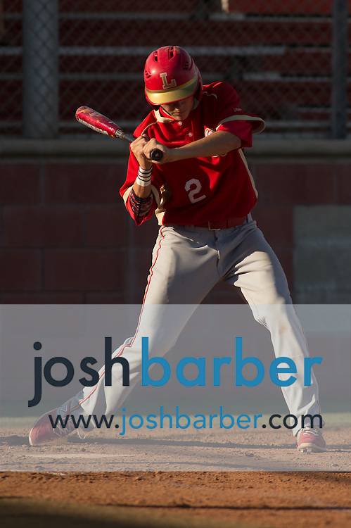 Orange Lutheran's Josh Bissonette (2) batting during a Trinity League game at Mater Dei High School on Friday, May 1, 2015 in Santa Ana, Calif. (Photo/Josh Barber)