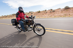 Byrne Bramwell of Ontario, Canada riding his 4-cylinder 1913 Henderson class-2 bike during the Motorcycle Cannonball Race of the Century. Stage-12 ride from Page, AZ to Williams, AZ. USA. Thursday September 22, 2016. Photography ©2016 Michael Lichter.