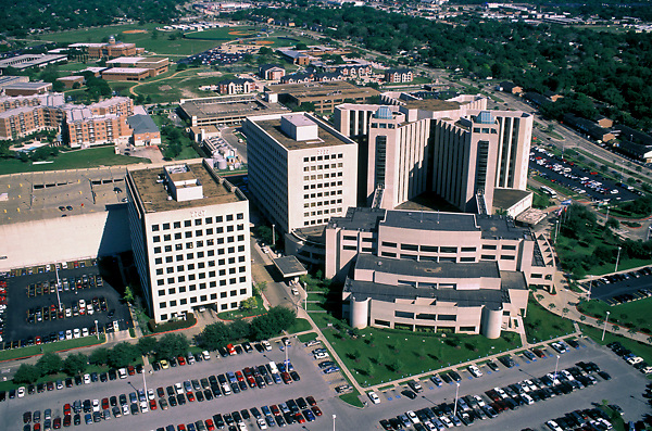 Stock photo of an aerial view of hospitals.