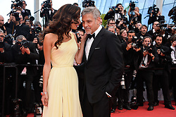 """File photo : George Clooney and his wife Amal Clooney attending the Money Monster screeningat the Palais Des Festivals in Cannes, France on May 12, 2016, as part of the 69th Cannes Film Festival. Amal Clooney and her husband George are expecting twins, US media report. The babies are due in June, according to CBS's The Talk host Julie Chen. Another source close to the couple, quoted by People, said they were """"very happy"""". The Clooneys' representatives have not yet commented. Photo by Lionel Hahn/ABACAPRESS.COM"""